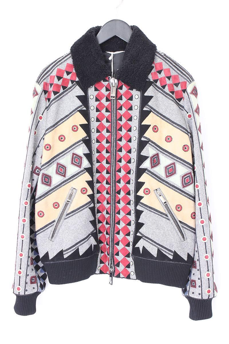 ヴァレンティノ VALENTINO 襟ボアビーズ装飾スエードパッチワークウールブルゾン