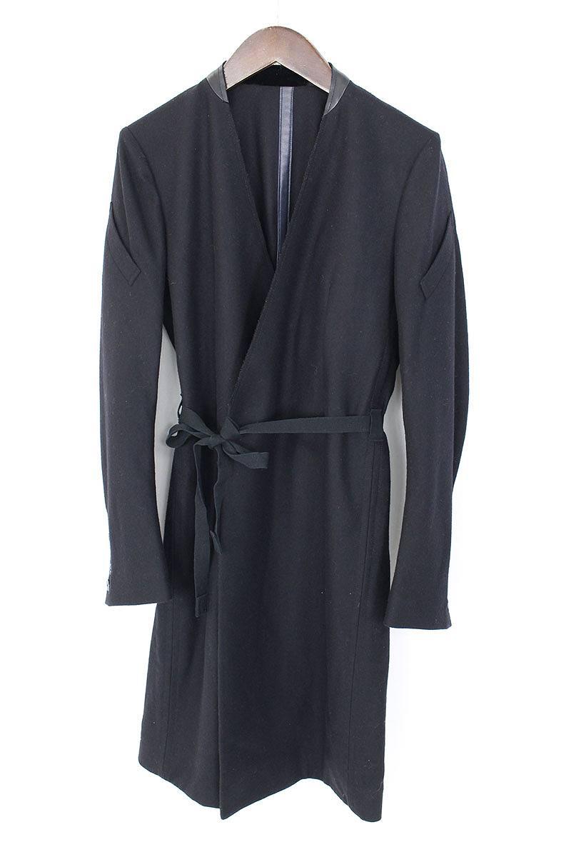 タカヒロミヤシタザソロイスト TAKAHIROMIYASHITATheSoloIst. double breasted collarless coat. sj.002aAW17 カラーレザー切替ダブルブレストウールコート