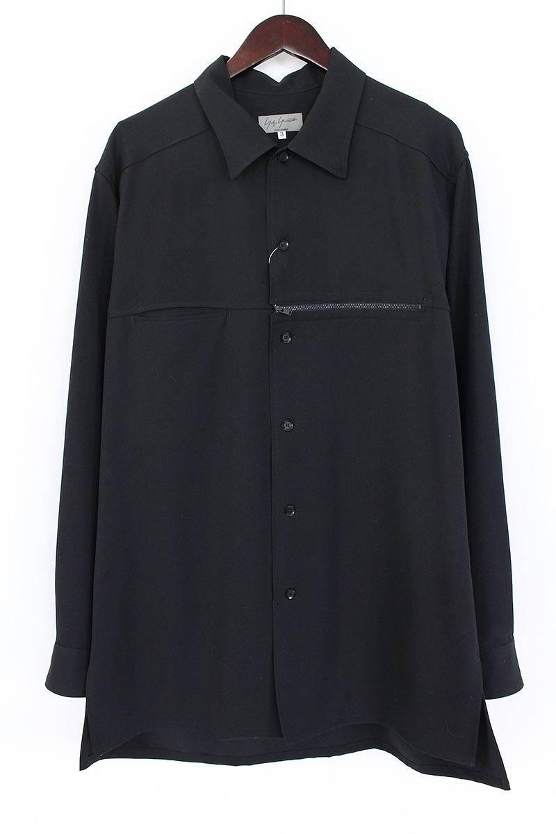 ヨウジヤマモトプールオム Yohji Yamamoto POUR HOMME ウールギャバジンジップデザイン長袖シャツ