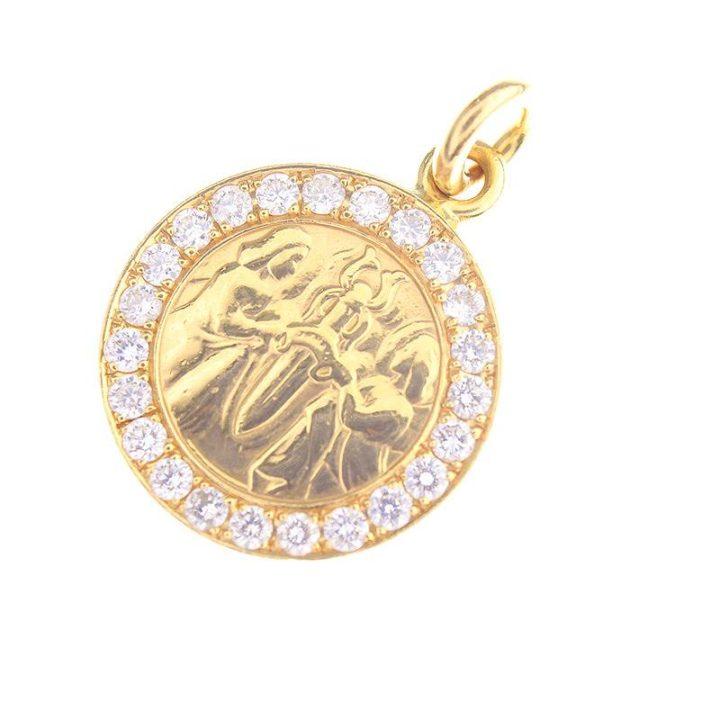 クロムハーツ CHROME HEARTS 22K CHRM ANGL MDL/エンジェルメダルチャーム PAVEダイヤネックレストップ