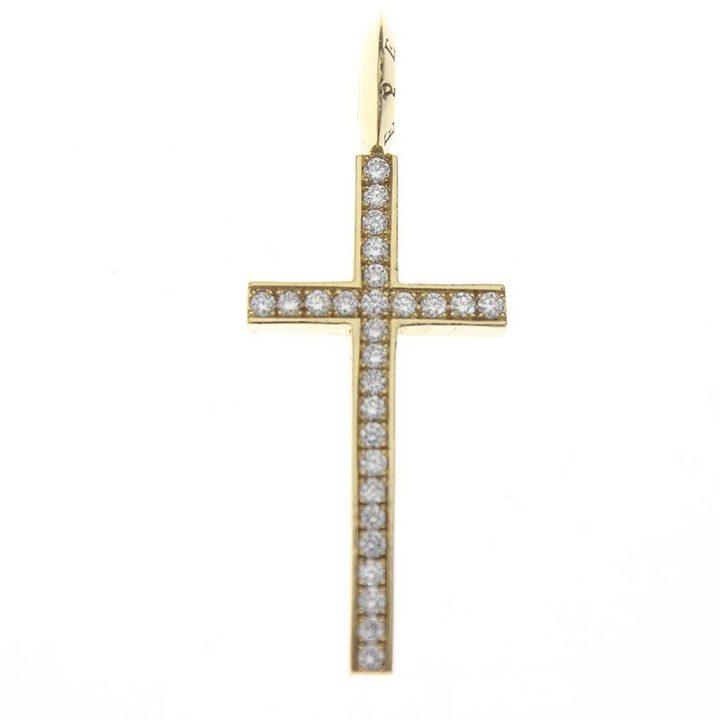 アイファニー EYEFUNNY HFC002 フラットクロスS/ 8KYGダイヤ装飾ネックレストップ