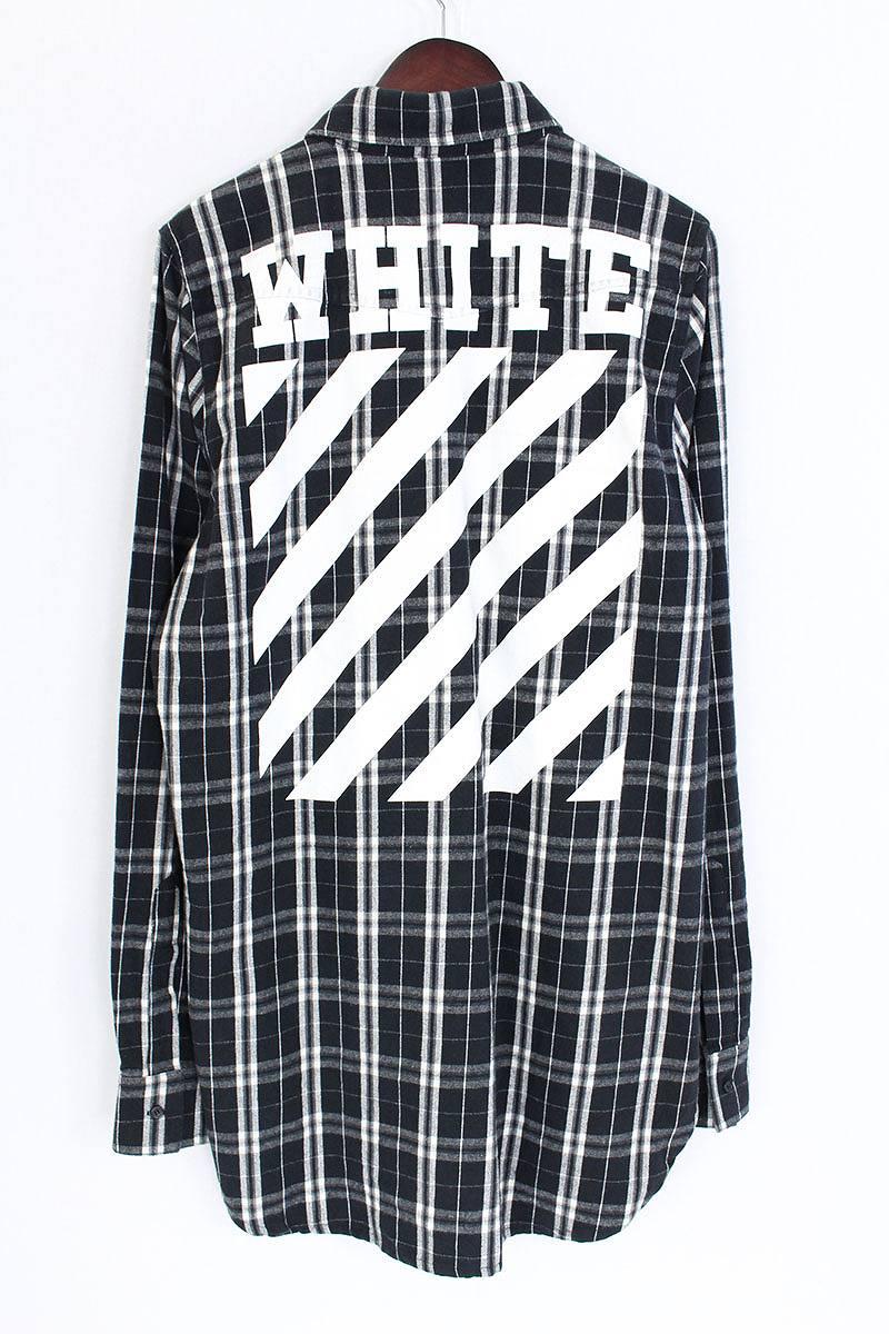 オフホワイト OFF-WHITE バックバイアスプリントチェック長袖シャツ