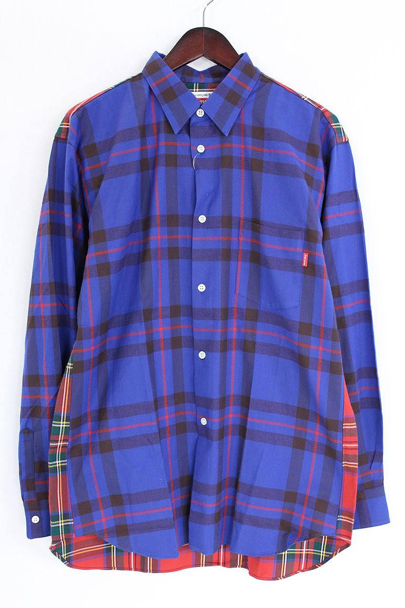シュプリーム SUPREME Button-Down Shirt チェック柄切替バックロゴプリント長袖シャツ
