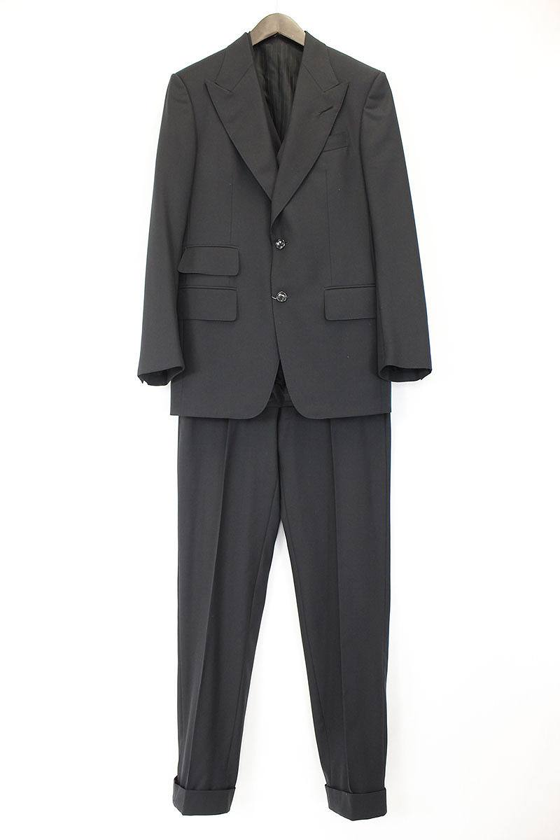 トムフォード TOMFORD ピークドラペル2Bジャケット3ピースセットアップスーツ