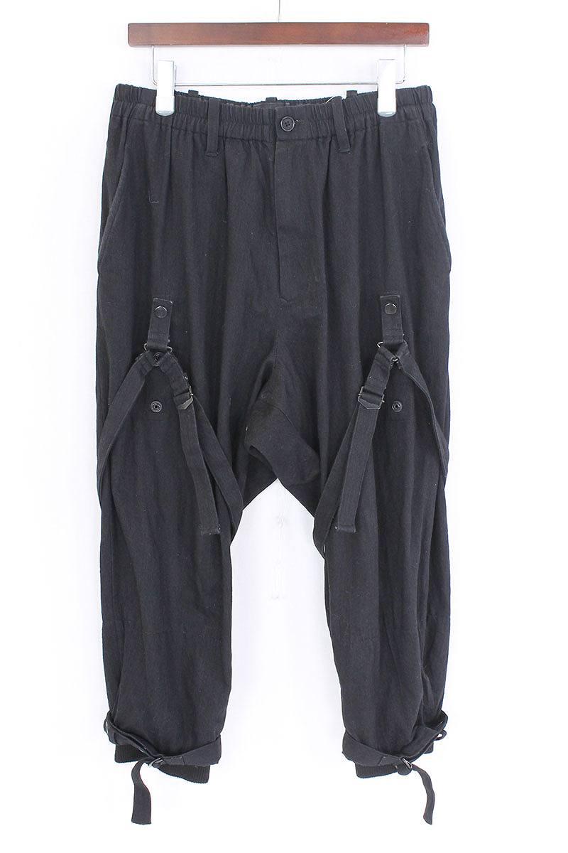 ヨウジヤマモトプールオム Yohji Yamamoto POUR HOMME Black Bandage Trousers 裾リブキャバジンボンテージパンツ