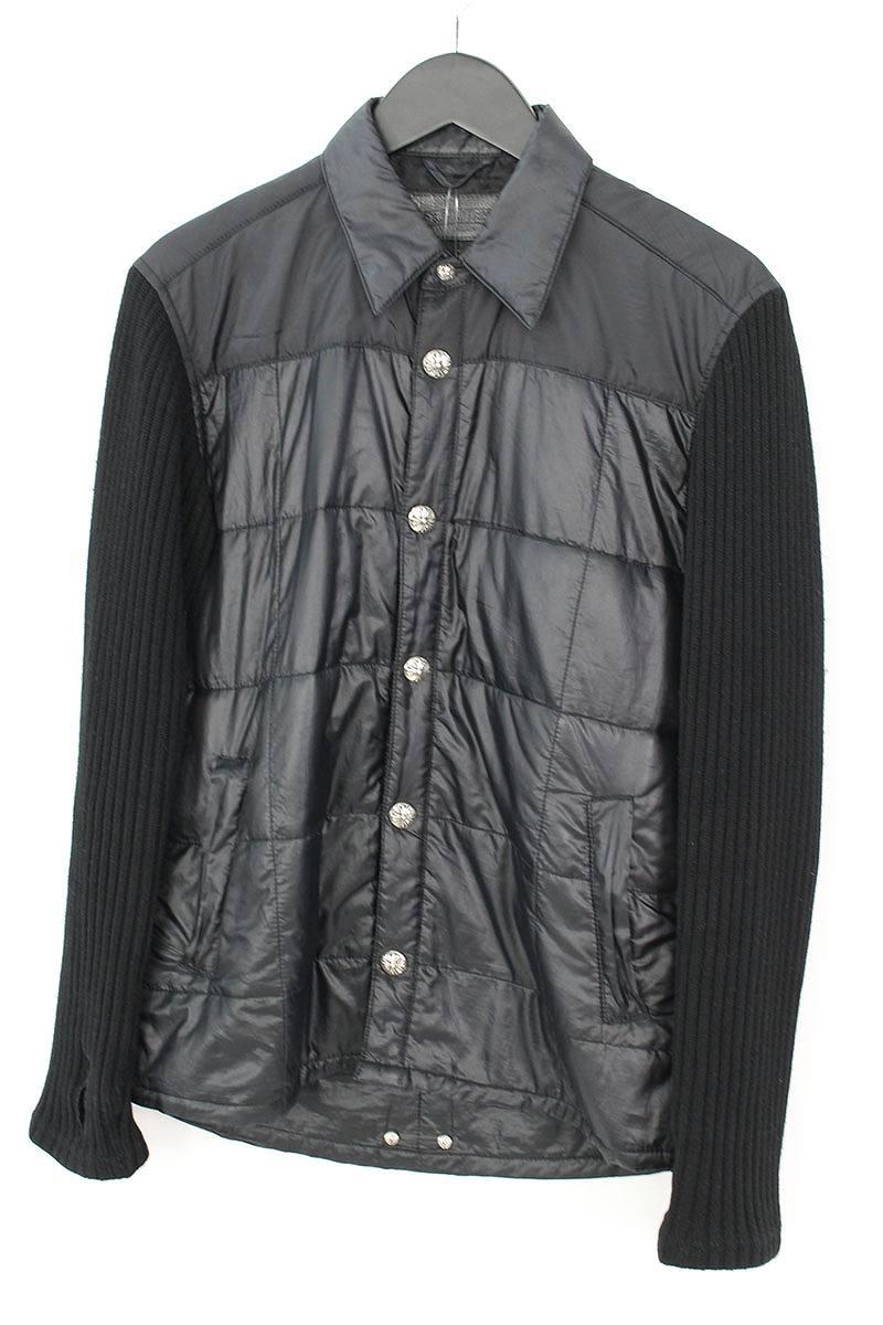 クロムハーツ Chrome Hearts 袖カシミヤ切替クロスボールボタンナイロンシャツジャケット