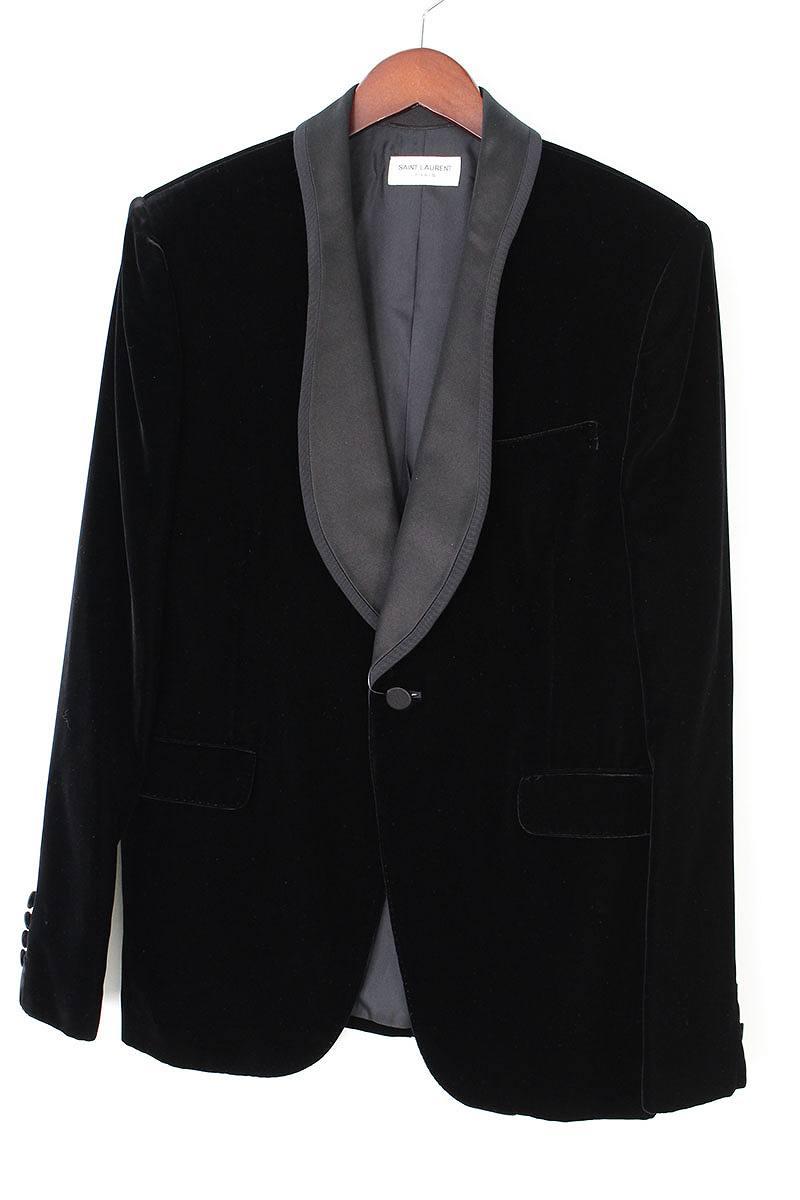 サンローランパリ SAINT LAURENT PARIS ショールカラーベロア1Bジャケット
