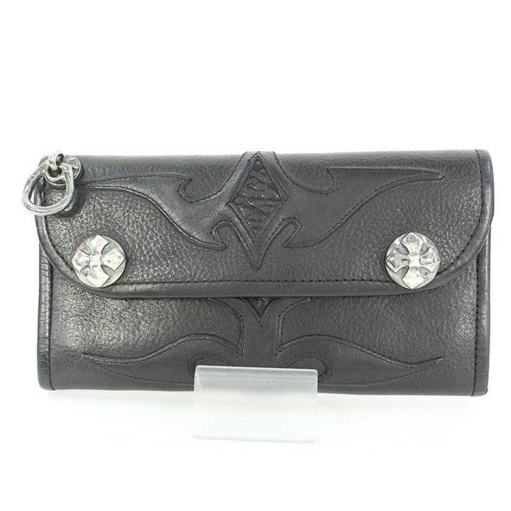 ビルウォールレザー Bill Wall Leather グッドラックスカルストラップ付クロコ切替ロングウォレット