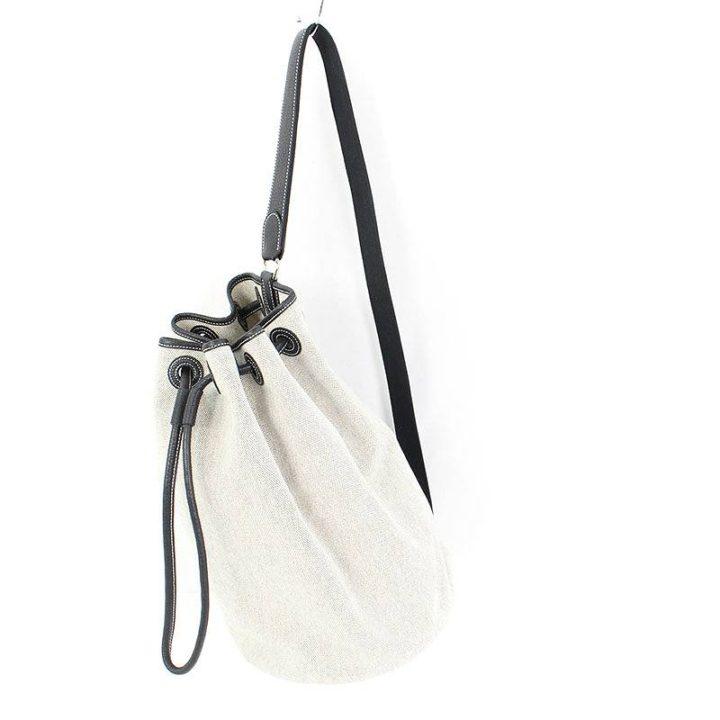 エルメス HERMES サックマリーンレシーフMM トワルアッシュ巾着型ショルダーバッグ