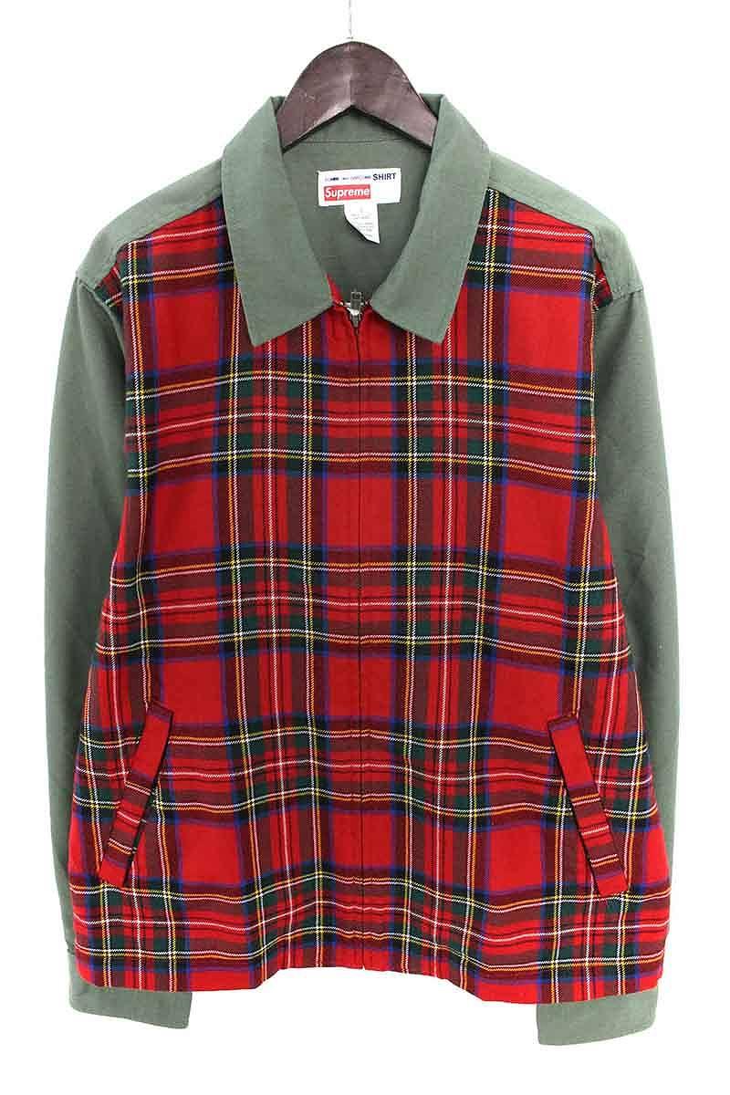 シュプリーム SUPREME × コムデギャルソンシャツ COMME des GARCONS SHIRT Work Jacket フロントタータンチェック切替ジップアップジャケット