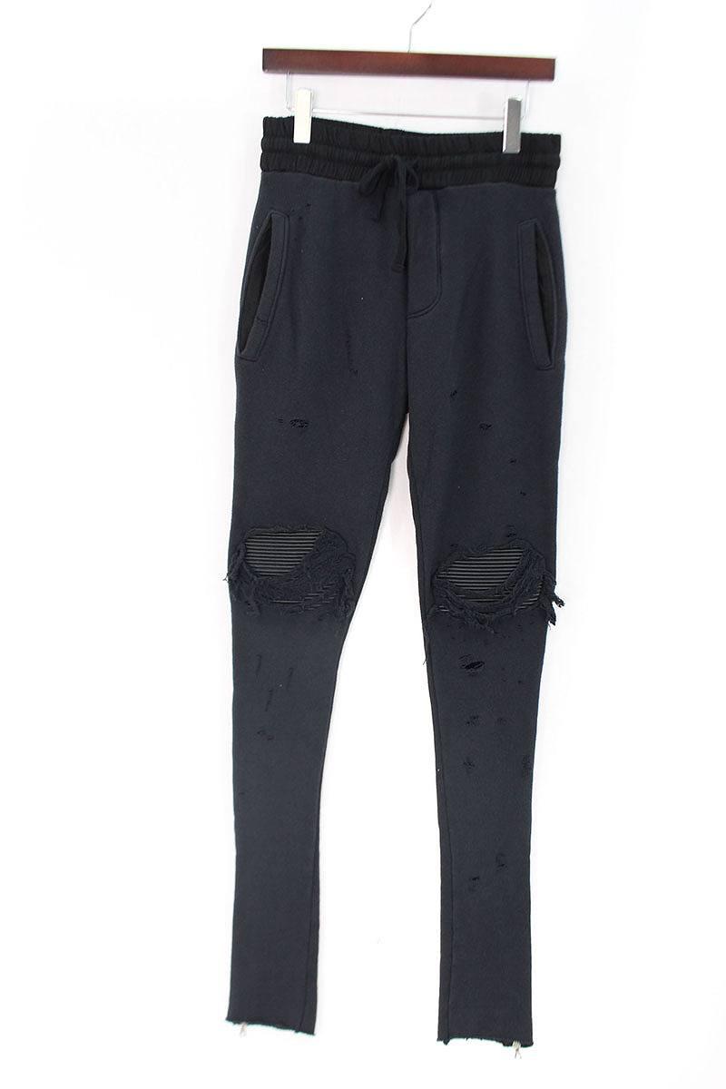 アミリ AMIRI MX1 Sweat Pants 蛇腹レザークラッシュ裾ジップイージースウェットパンツ