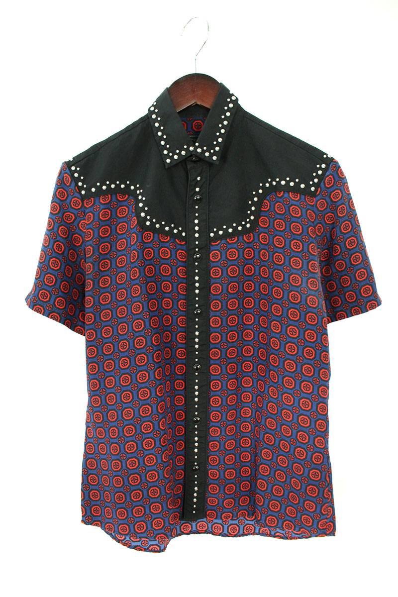プラダ PRADA スタッズ装飾バイカラー半袖シャツ