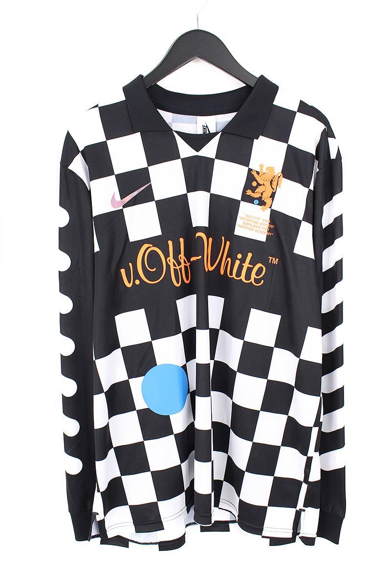 オフホワイト OFF-WHITE × ナイキ NIKE FB JERSEY AWAY AO1217-010 チェッカー柄アウェイサッカージャージー長袖カットソー