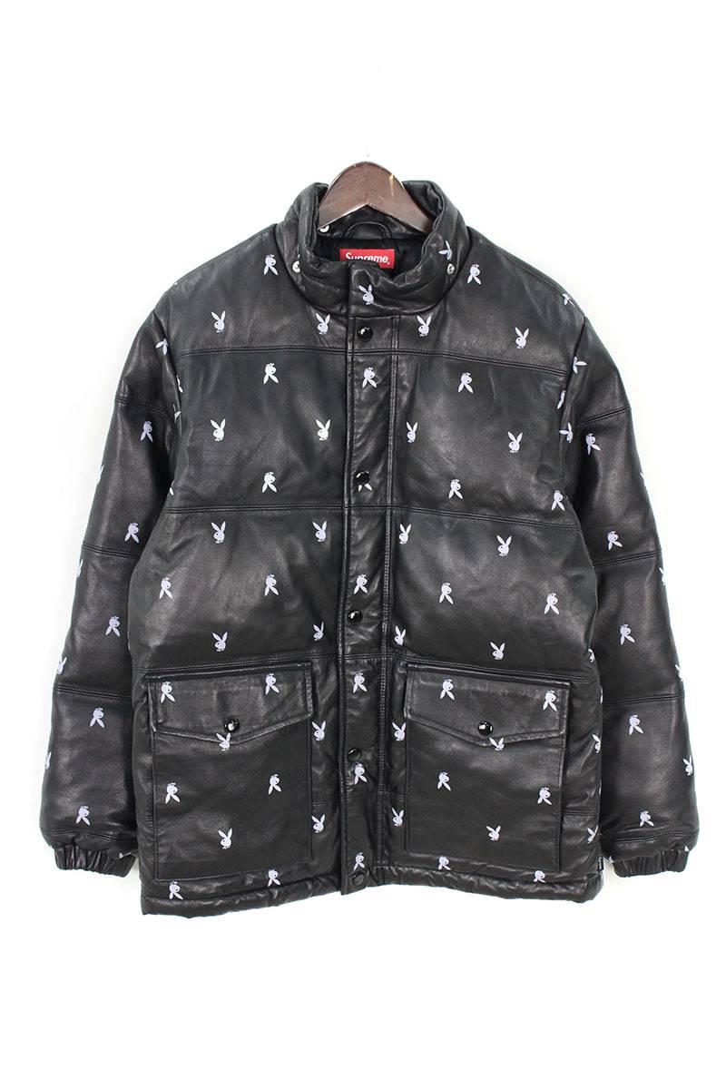 シュプリーム SUPREME Playboy leather puffy jacket プレイボーイレザーパフィダウンジャケット