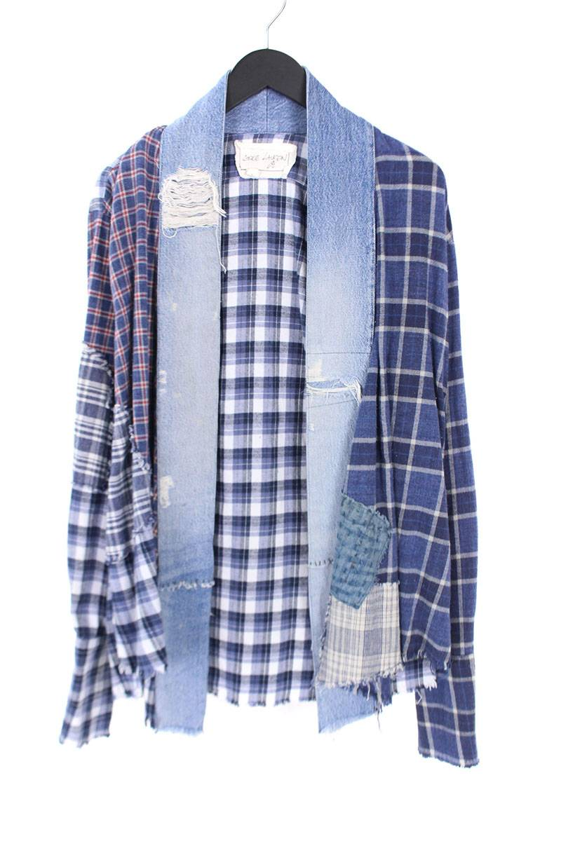 グレッグローレン Greg Lauren PATCHWORK PLAIDY VINTAGE DENIM STRIPE KIMONO STUDIO パッチワークキモノ長袖シャツ
