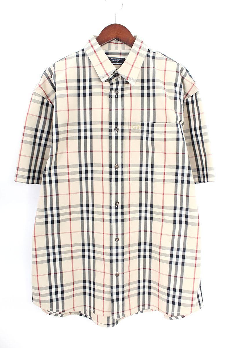 バーバリー Burberry × ゴーシャラブチンスキー Gosha Rubchinskiy 胸刺繍チェック柄半袖シャツ