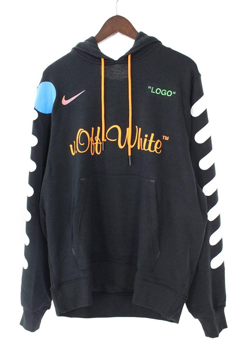 ナイキ NIKE × オフホワイト OFF-WHITE Pull Over Hoodie AA3257-010 ロゴプリントプルオーバーパーカー