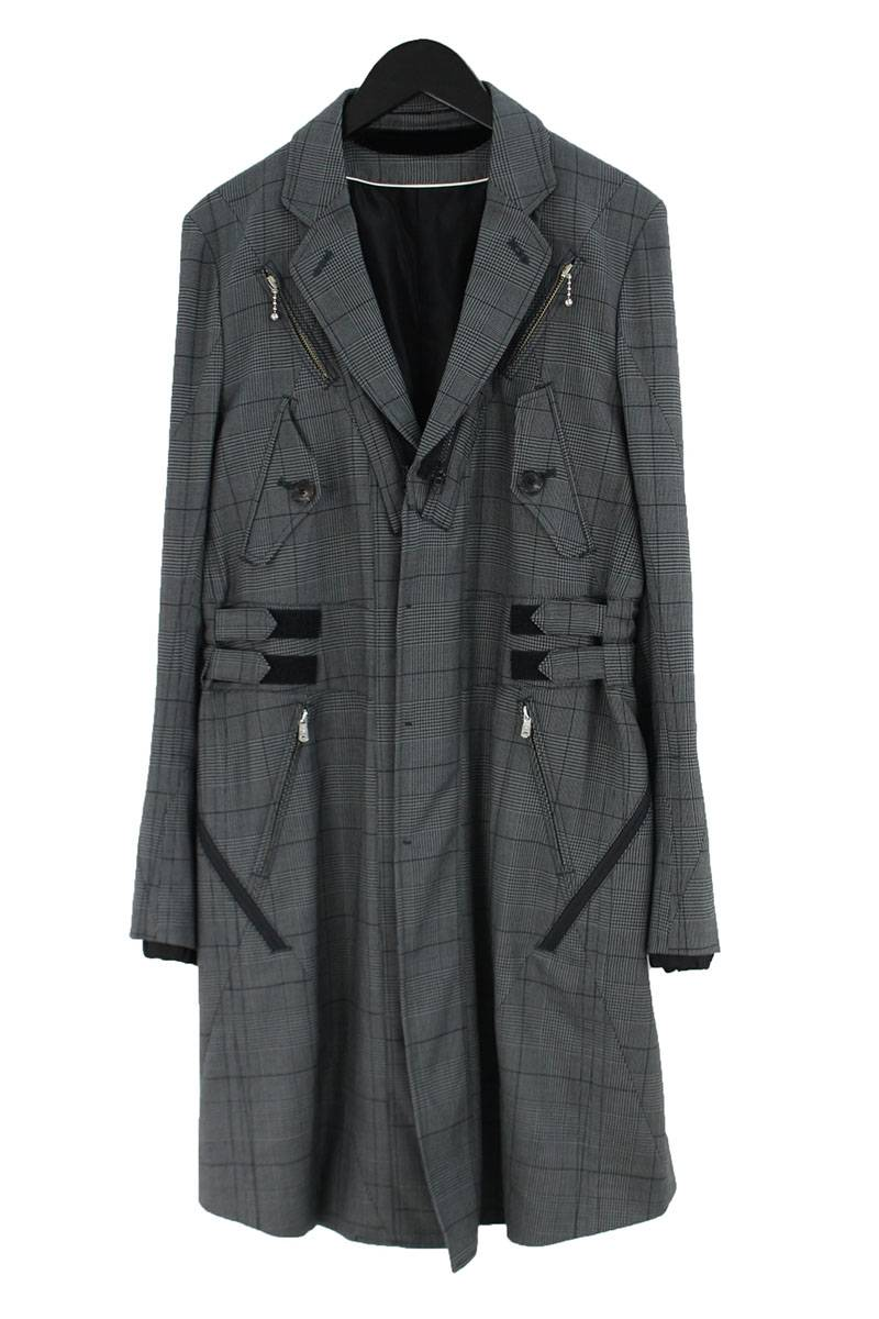 タカヒロミヤシタザソロイスト TAKAHIROMIYASHITATheSoloIst. Chesterfield coat sj.0006ass16 グレンチェックマルチジップコート