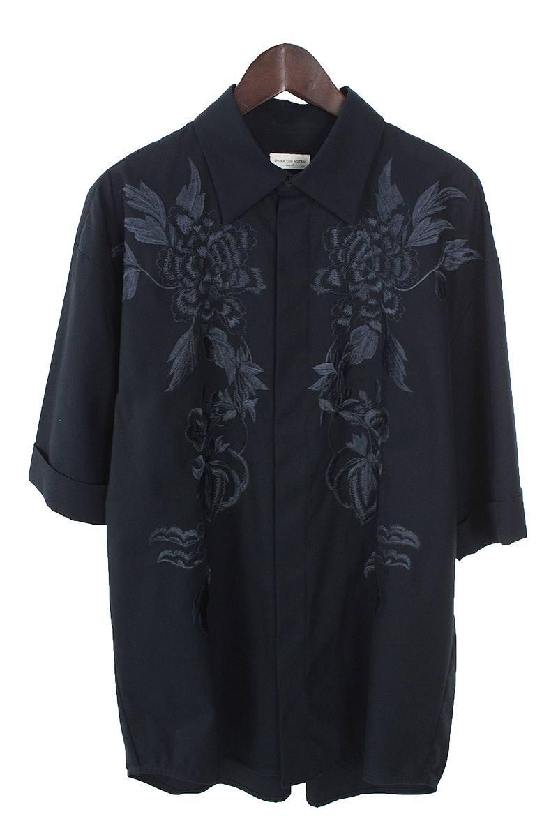 ドリスヴァンノッテン Dries Van Noten エンブロイダリー刺繍オーバーサイズ半袖シャツ