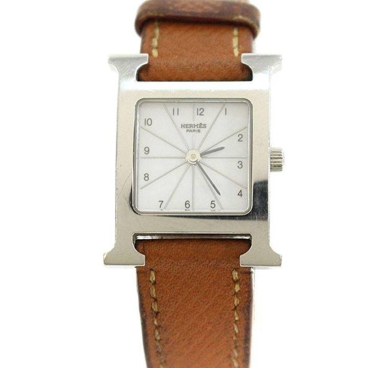 エルメス HERMES Hウォッチ HH1.210 レザーベルト腕時計