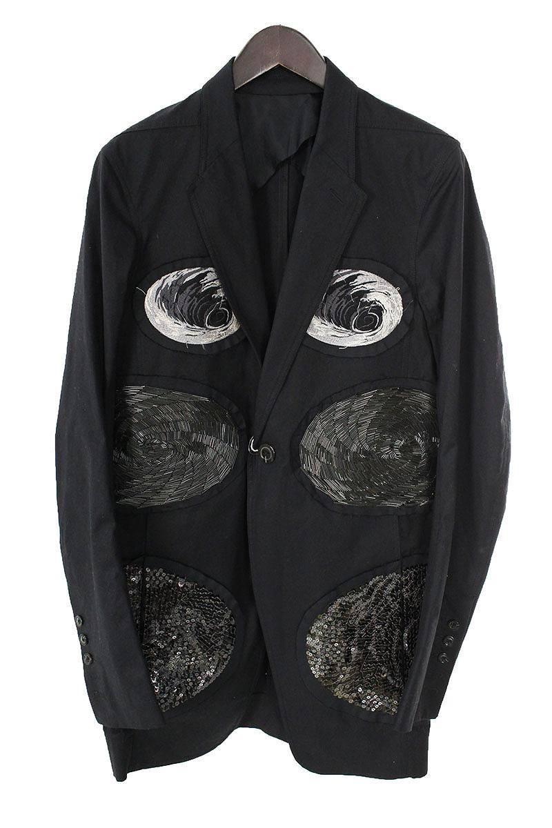 リックオウエンス Rick Owens RR17S9759-TECOM2 スパンコール刺繍ロングテーラードジャケット