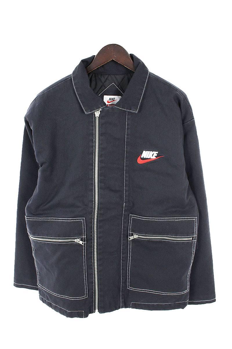 シュプリーム SUPREME × ナイキ NIKE Double Zip Quilted Work Jacket ロゴ刺繍ジップアップジャケット