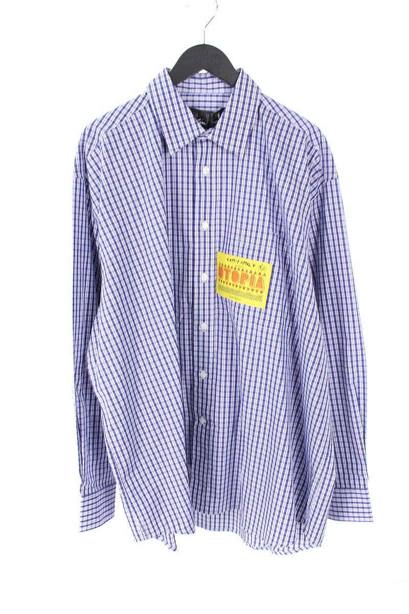 マーティンローズ MARTINE ROSE BOYFRIEND SHIRT パッチ装飾ブロックチェックオーバーサイズ長袖シャツ