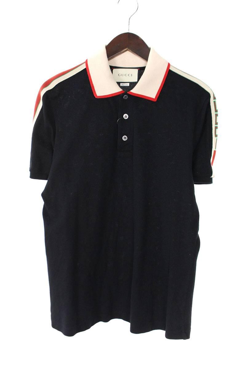 グッチ GUCCI  Stretch Cotton Piquet Polo/500972-X9M38 ラインデザイン半袖ポロシャツ