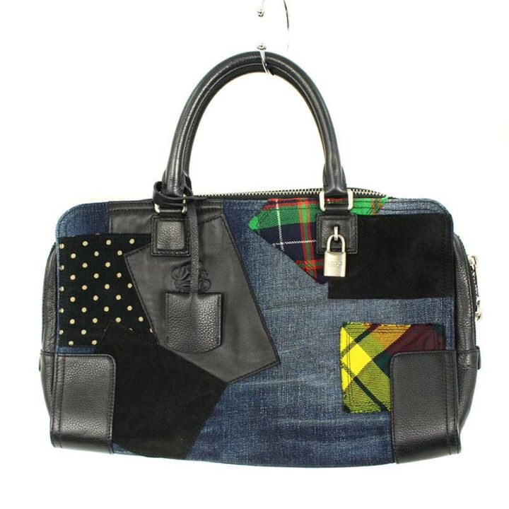 ロエベ LOEWE アマソナ パッチワークデザインレザーハンドバッグ