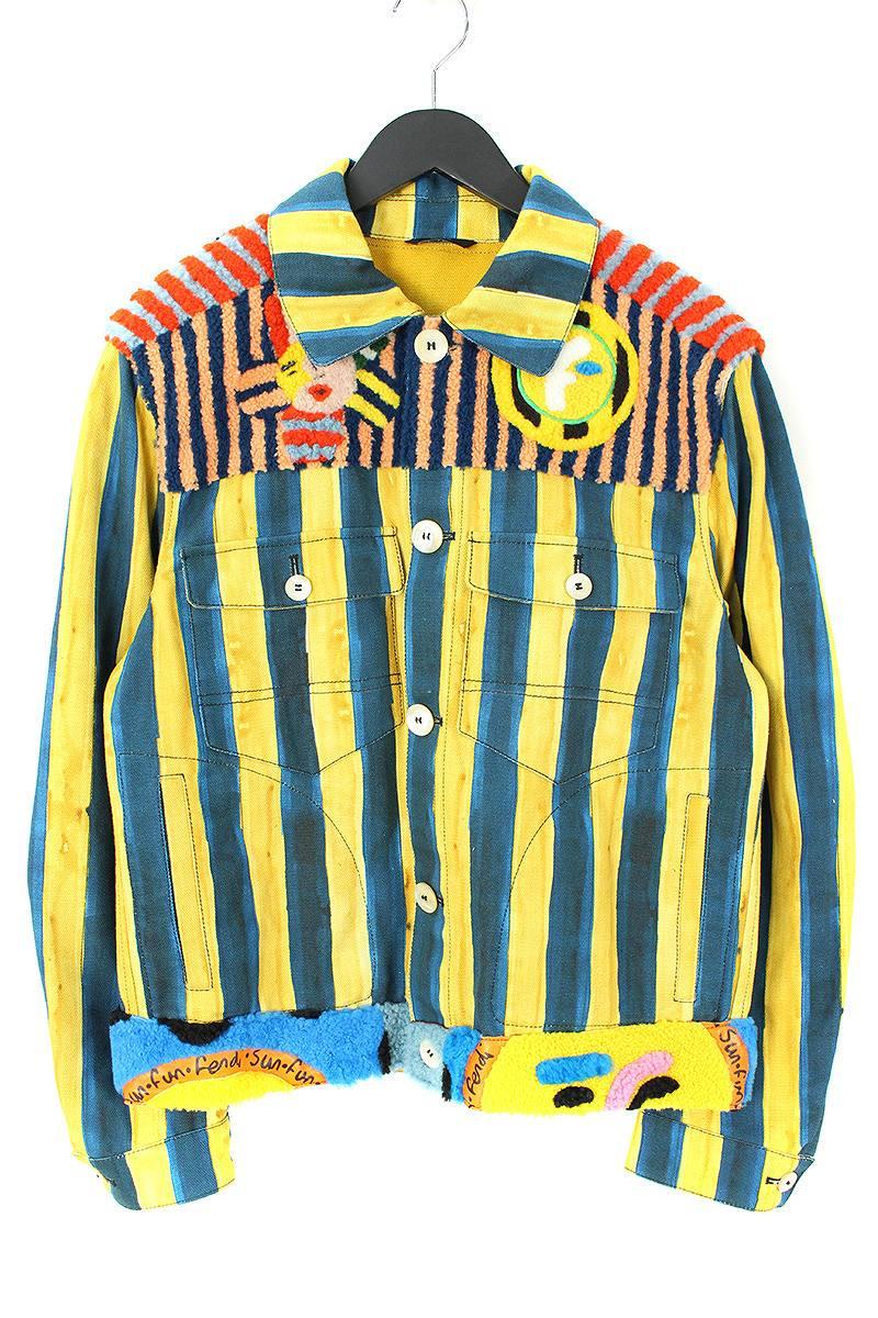 フェンディ FENDI FW0854 Patterned Denim Jacket マルチパターンペカンストライプデニムジャケット