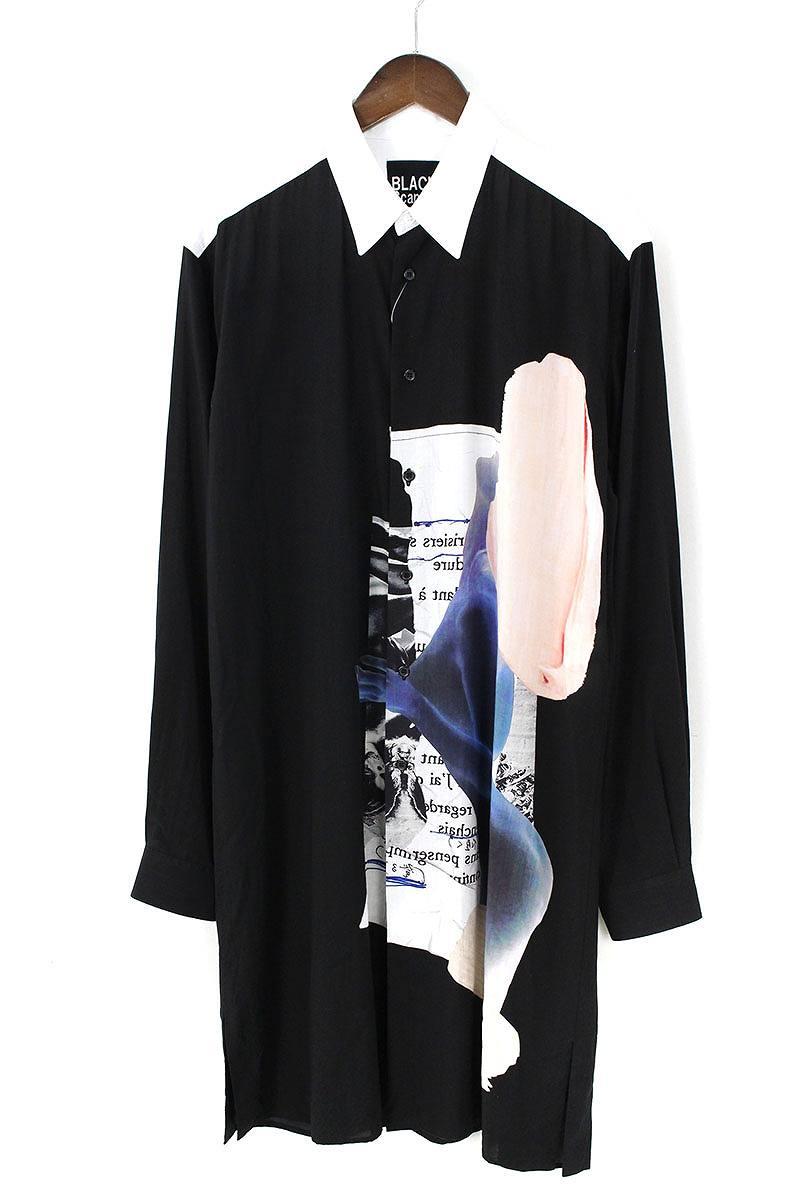ヨウジヤマモト Yohji Yamamoto BLACK Scandal HV-B63-831 ヌードプリントロング長袖シャツ