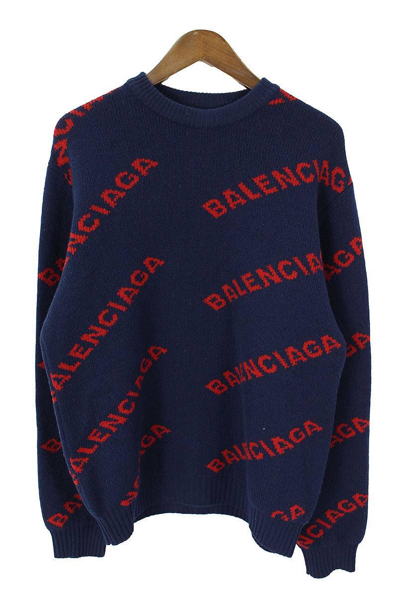 バレンシアガ BALENCIAGA 547831 T1473 総柄ロゴニット