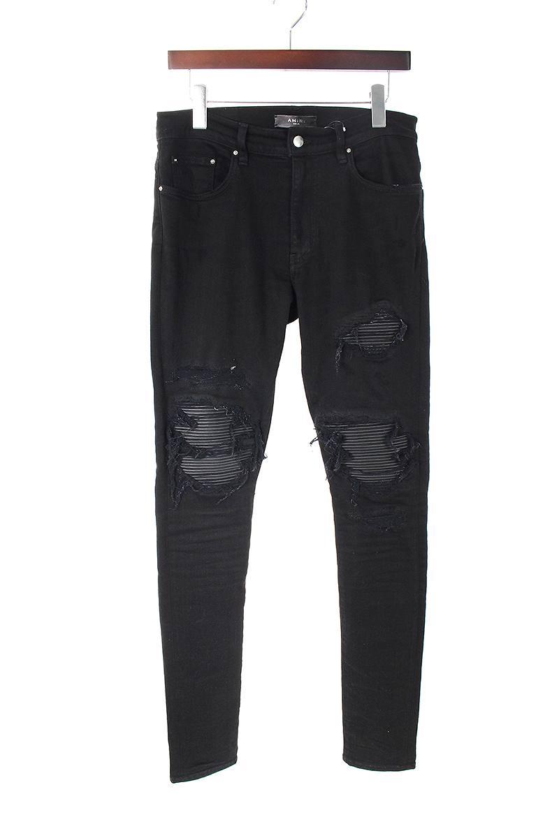 アミリ AMIRI MX1 leather patch jeans 膝レザークラッシュスキニーロングパンツ