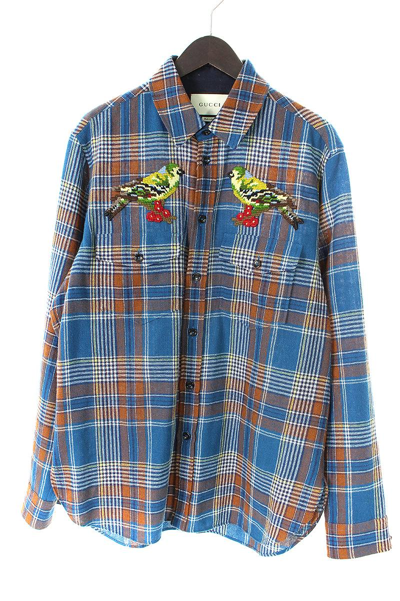 グッチ GUCCI 478421 Z487F バードエンブロイダリーチェック長袖シャツ