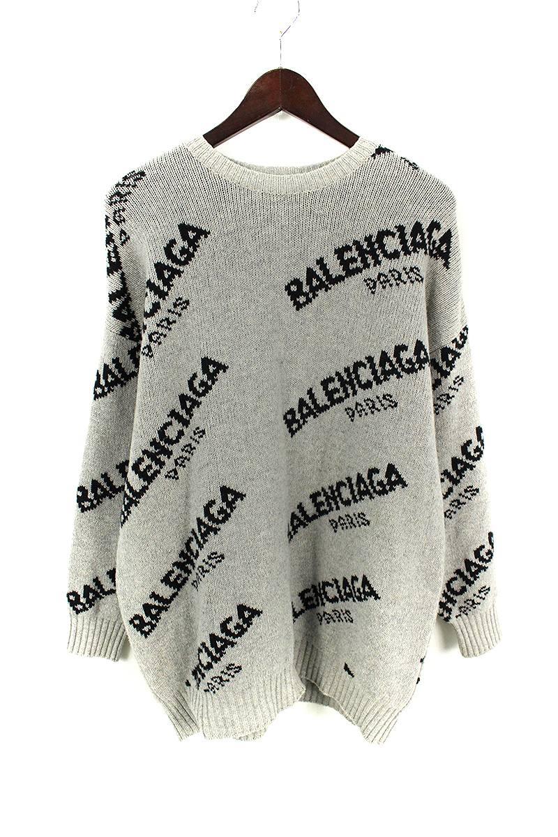 バレンシアガ BALENCIAGA 502572 T1442 ロゴ総柄オーバーサイズニットセーター