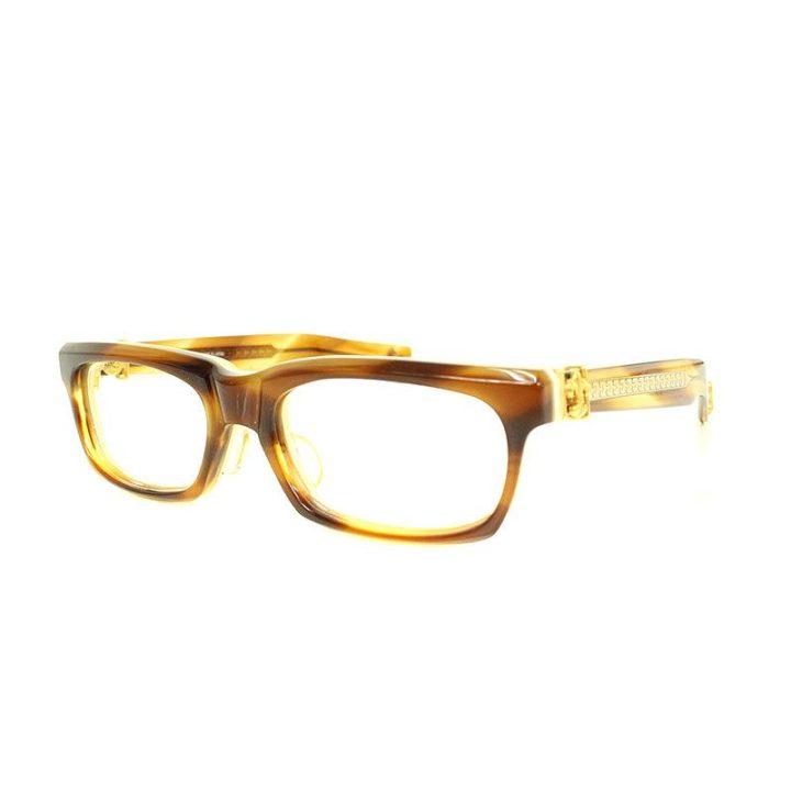 クロムハーツ Chrome Hearts SPLAT ゴールドコーティングBSフレアテンプルウェリントン型眼鏡