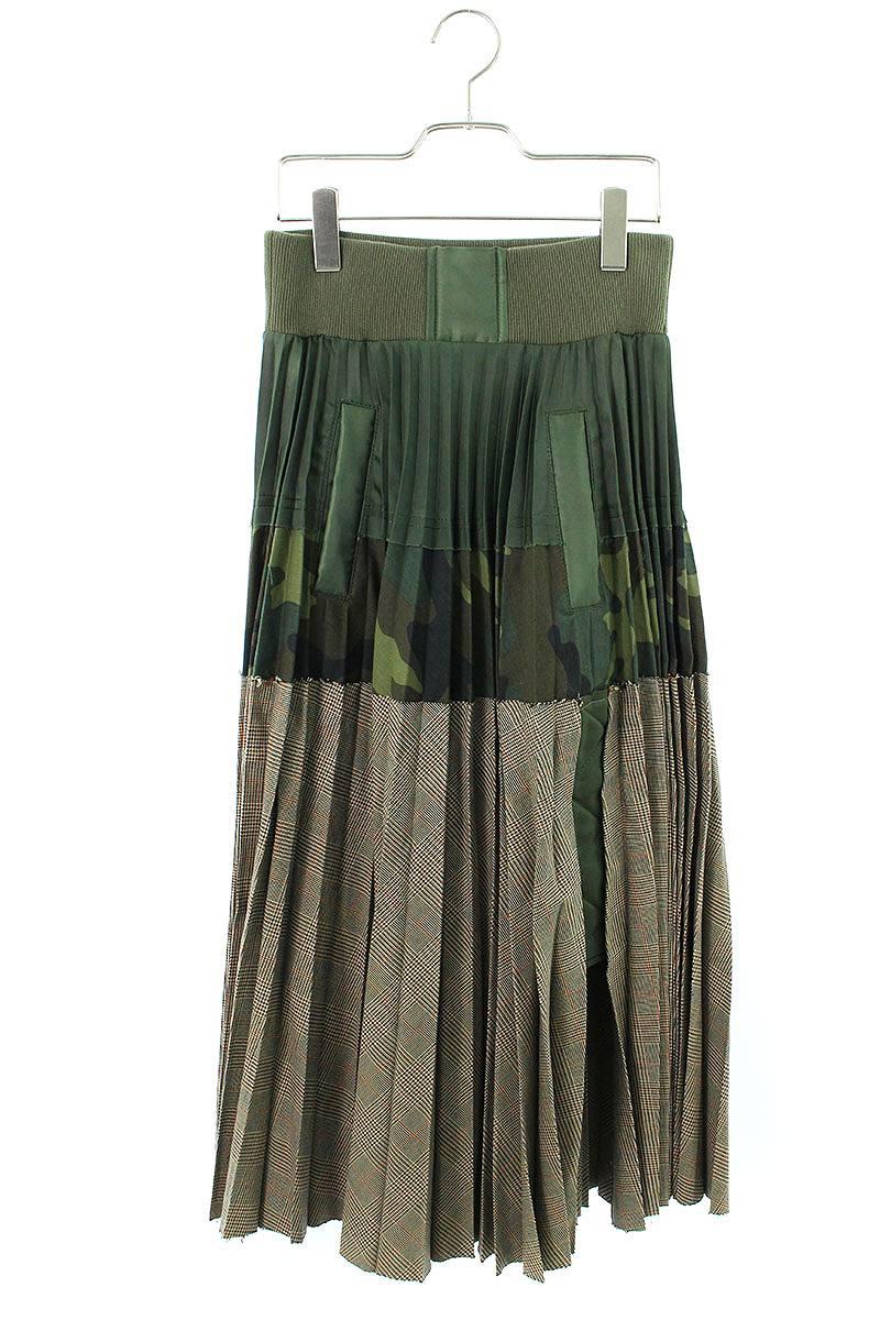 サカイ Sacai 18-03793 グレンチェックカモフラ切替スカート