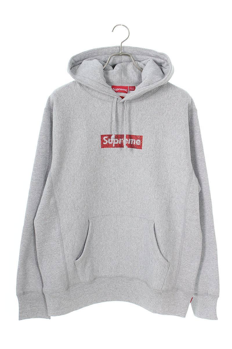 シュプリーム SUPREME × スワロフスキー SWAROVSKI Swarovski Box Logo Hooded Sweatshirt スワロフスキーボックスロゴフーデットスウェットパーカー