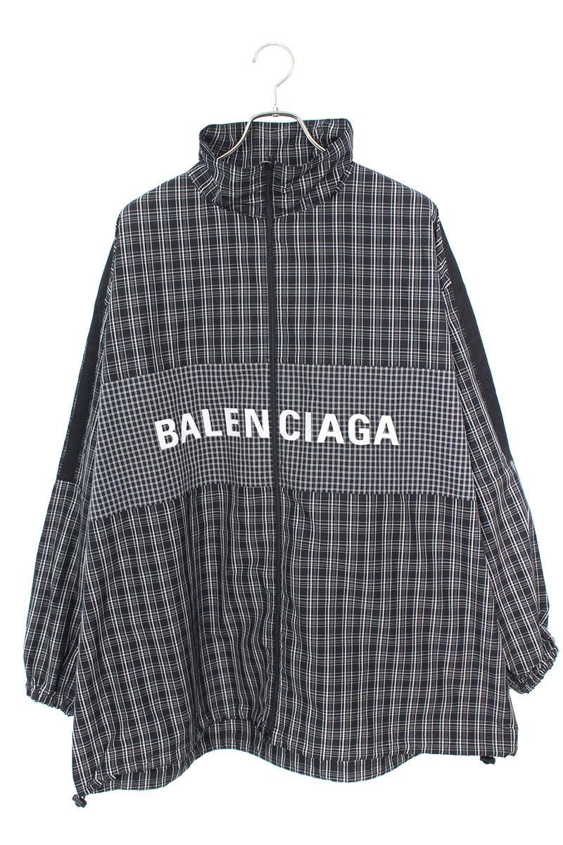 バレンシアガ BALENCIAGA 571439 TEM18 ロゴプリントポプリンチェックシャツジャケット