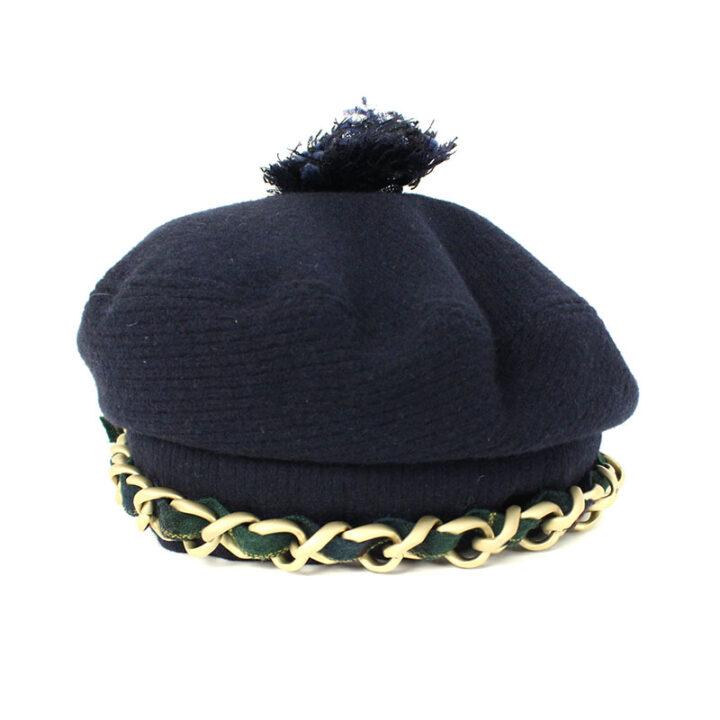 シャネル CHANEL チェーンリボンデザインベレー帽