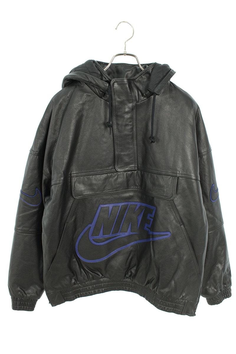 シュプリーム SUPREME ×ナイキ NIKE Leather Anorak CK6218 010 レザーアノラックプルオーバージャケット