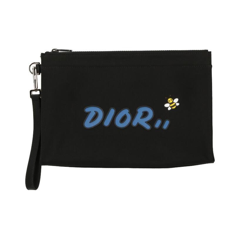 ディオール Dior × カウズ KAWS BEEパッチナイロンクラッチバッグ