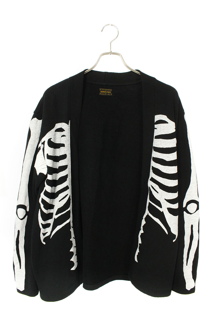 キャピタル KAPITAL K1902LC809 ECO Fleece KAKASHI Shirt ボーンプリントスウェットシャツカーディガン