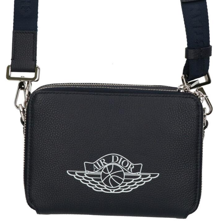 ディオール DIOR × ナイキ NIKE AIR DIOR Zipped Compact Shoulder Bag ロゴプリントレザーショルダーバッグ