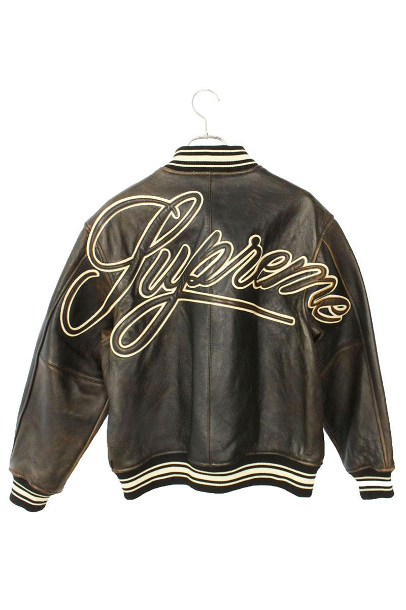 シュプリーム SUPREME Painted Worn Leather Varsity Jacket レザージャケット