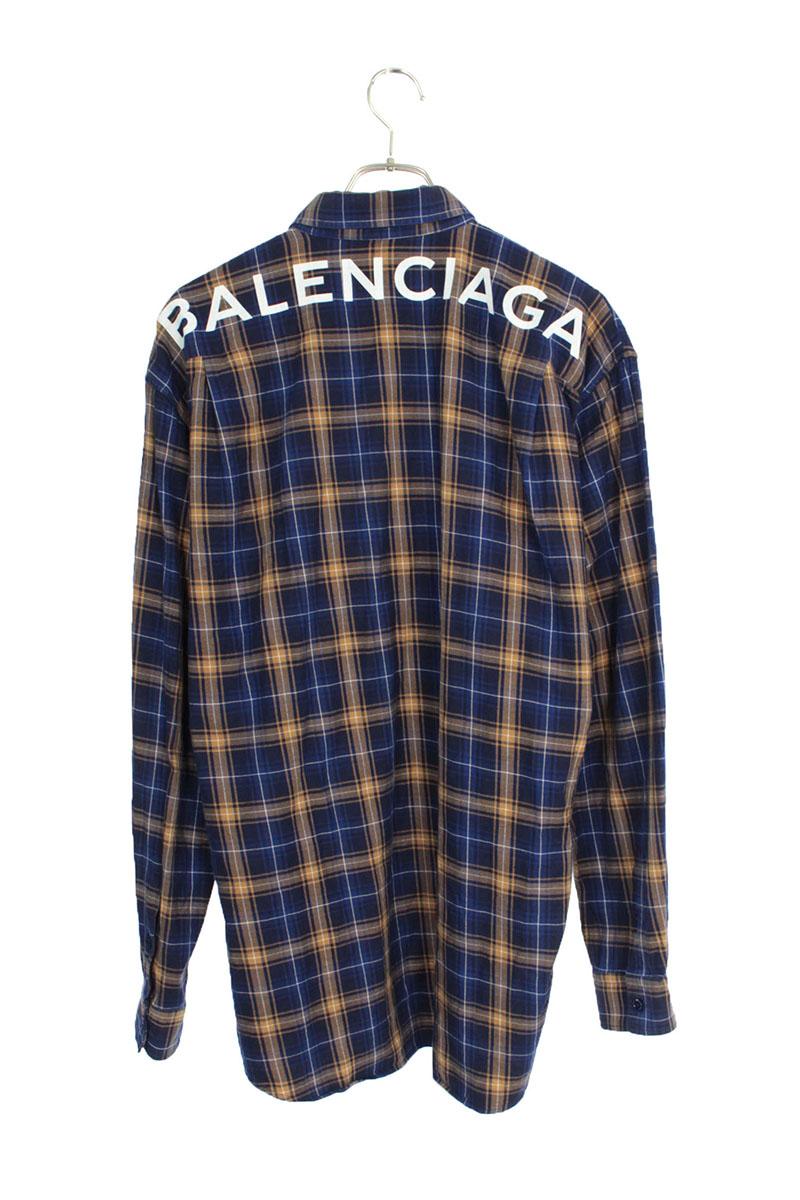 バレンシアガ BALENCIAGA 508465 TYB16 バックロゴプリントボタンダウン長袖シャツ