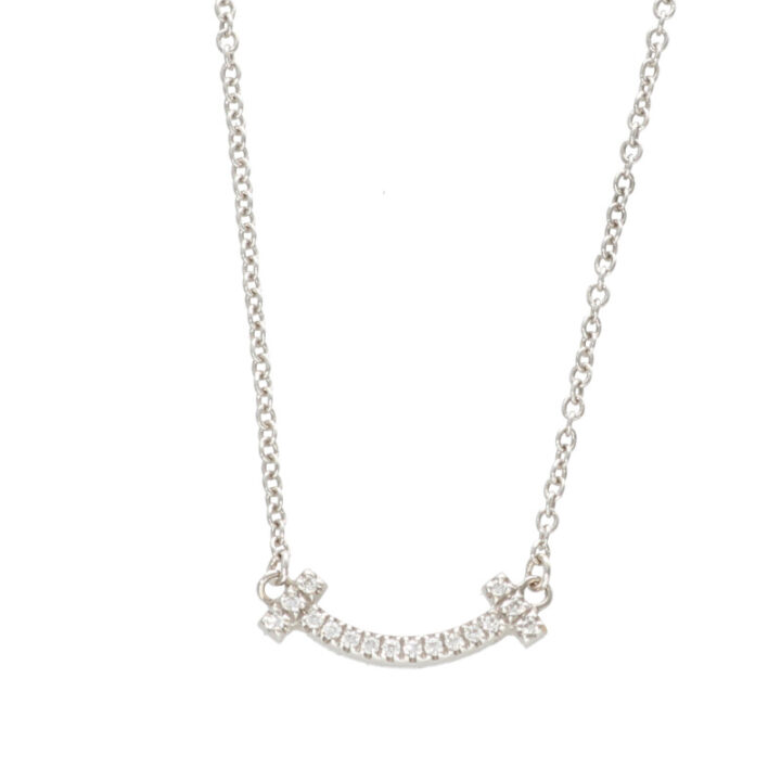 ティファニー Tiffany&Co. Tスマイルミニ ホワイトゴールドネックレス