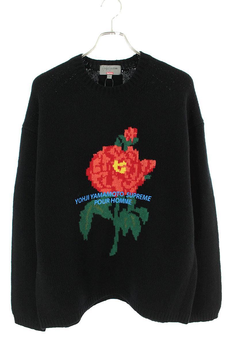シュプリーム SUPREME × ヨウジヤマモト Yohji Yamamoto Sweater ローズ刺繍ロゴプリントニット