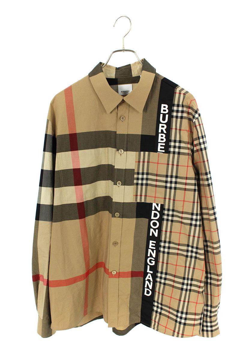 バーバリー BURBERRY 8033101 ロゴパッチワークプリントコットンオーバーサイズ長袖シャツ