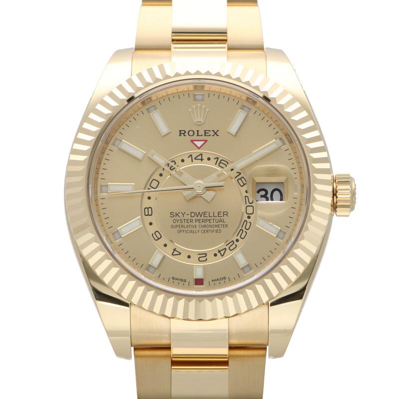 ロレックス ROLEX 326938 スカイドゥエラー SKY-DWELLER YGシャンパン文字盤腕時計